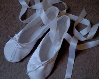 White Satin Ballet Slippers - Full Soles