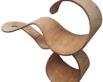 Double Wave cat shelf in wood with walnut finish