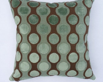 "Retro Mid Century Modern design - Accent Pillow -  Clarence House textile - 17"" x 17"" with feather/down insert"