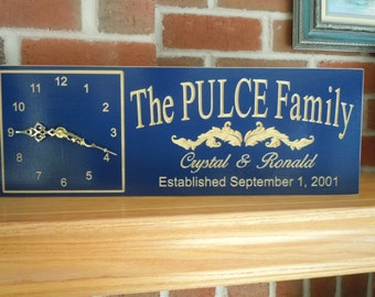 Wedding Gift Personalized Clock Sign Custom Family Last Name Anniversary Engagement Marriage Gift Established Housewarming 18 x 7 Poplar C17