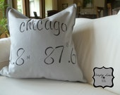 Duck Fabric Pillow with Nautical Coordinates of a City