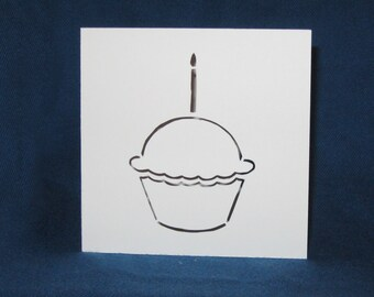 Cupcake Card, Happy Birthday, Hand Cut Card