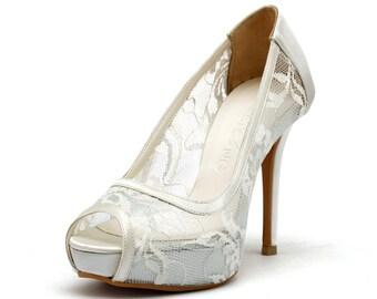 Sweet Memory, Ivory White Lace Wedding Shoes,Ivory White Bridal Heels,Ivory White Satin See Through Lace Peep Toe Pumps