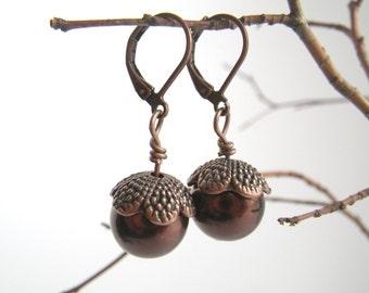 Acorns - earrings in vintage style beaded copper brown autumn
