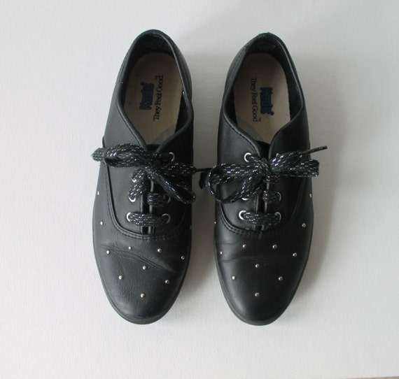 keds black leather sneakers for women