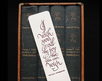 Letterpress Calligraphic Bookmark with Shakespeare Quote