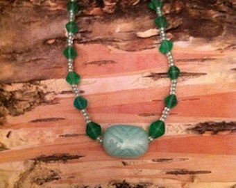 NECKLACE Glass Bead Imported Seed Beads Green