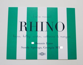 Moving Announcement - Stylish Stripe Postcard (Green Stripe with Navy)