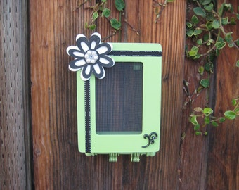 Mini green hanging jewelry cabinet for your favorite pieces.