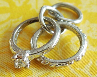 Vintage Teeny Tiny Wedding Rings Sterling Silver Charm