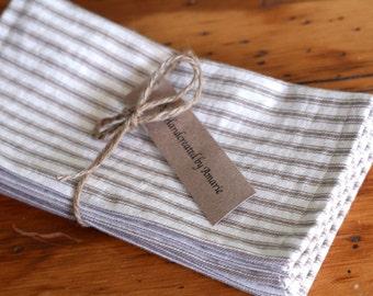 Cloth napkins, cloth stripe ticking napkins, reusable cloth napkins, tan stripe napkins, tan  French Ticking Napkins / Set of 4/ small size