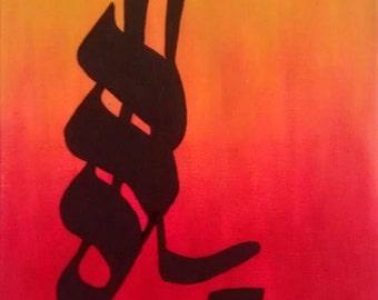 "Made to order- Calligraphy Islamic Art -""YA ALLAH"" original acrylic contemporary chic modern Ramadan EID home decor"