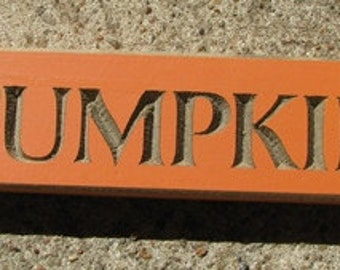 Primitive Country Pumpkin Block  Shelf Sitter Wood Signs