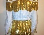 Vintage 1980s MODI SEQUINS Crop Jacket, Shorts, Bustier and Shoes Gold and White Outfit, size 7