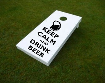 CORNHOLE decals - - Keep Calm and Drink Beer Decals - -  KCCO Vinyl Decal Sticker