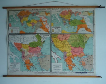 Vintage pull down school chart, Rise and decline of the Ottoman Empire (21)