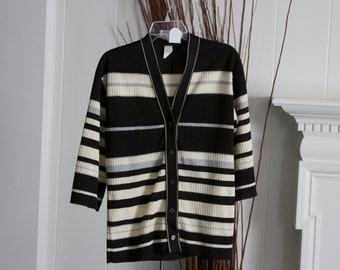Cream, grey and black striped button down knit top