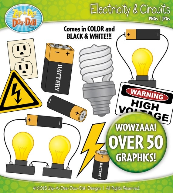 Electricity Clipart For Kids Electricity and circuits clip art set ...