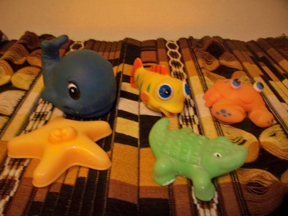 Items similar to rubber fish play set bathroom bath toys x for Rubber fish toy