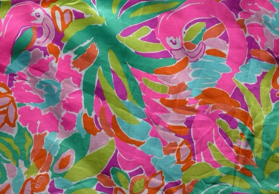 3 Square Patches Of Lilly Pulitzer Fabric Lulu Flamingo