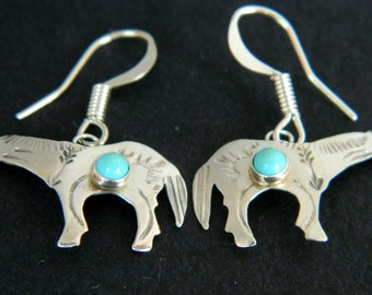 Navajo Native American Turquoise Hand Stamped Sterling Horse Earrings Ed Abeyta