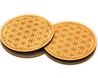 2 x flower of life coaster 11 cm for energizing and vitalizing for drinks perfect for carafes and bottles ooak gift under 20 Dollar
