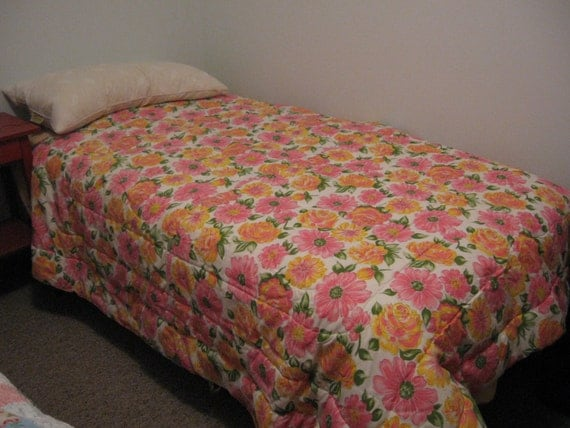 Retro Hot Pink Orange And Yellow Floral Bed Comforter