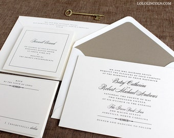 Formal Wedding Invitations, Classic Wedding Invitations, Black Tie Wedding Invitations, Grove Park Wedding Invitation