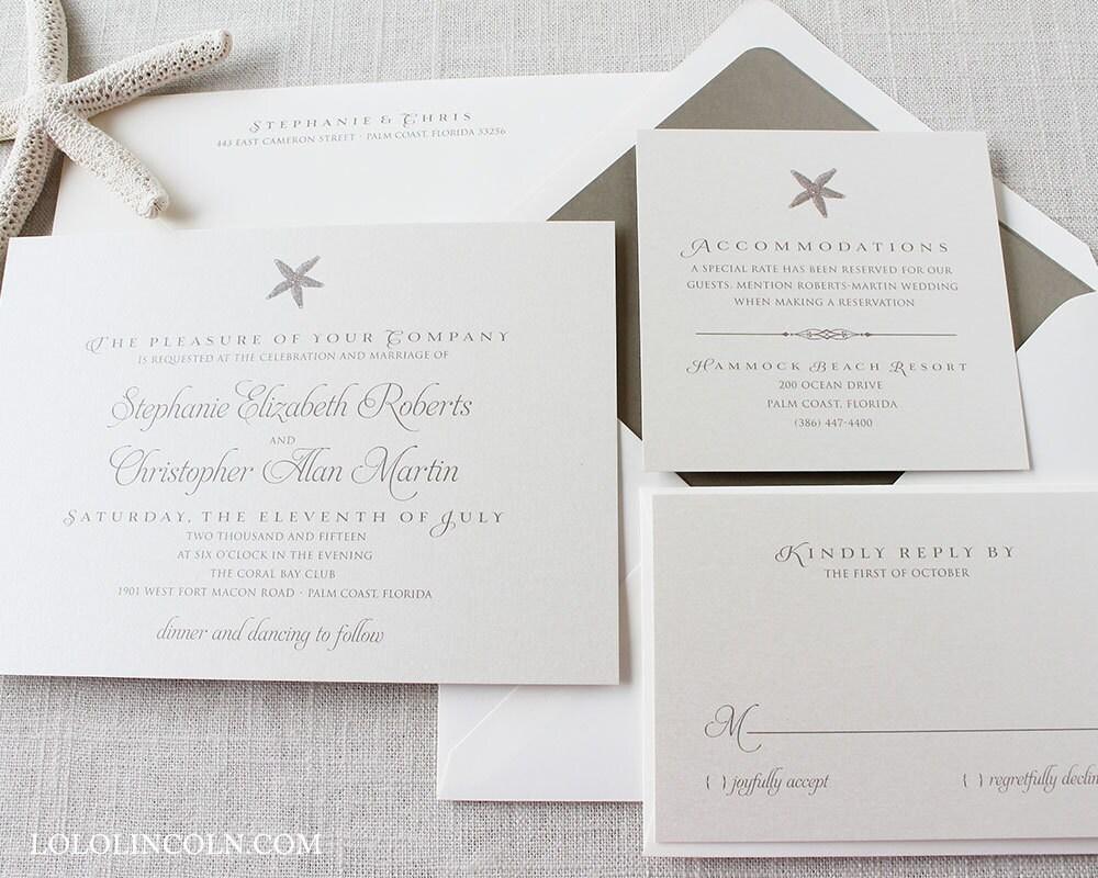 Etsy Beach Wedding Invitations: Starfish Wedding Invitations Beach Wedding By LoloLincoln