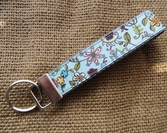 Teal Floral - Pretty - Girly Key Fob Wristlet
