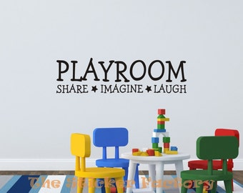 Playroom share imagine laugh vinyl wall decal quote