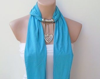 Heart Scarf-Turquoise Jewelry Scarf -Headband-Necklace- Combed Cotton Scarf-Infinity Scarf- New Season-Long Scarf