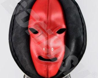 Bondage Fetish Mask Double skinned black and red leather Gimp hood, Leather bondage fetish mask hood, Mature