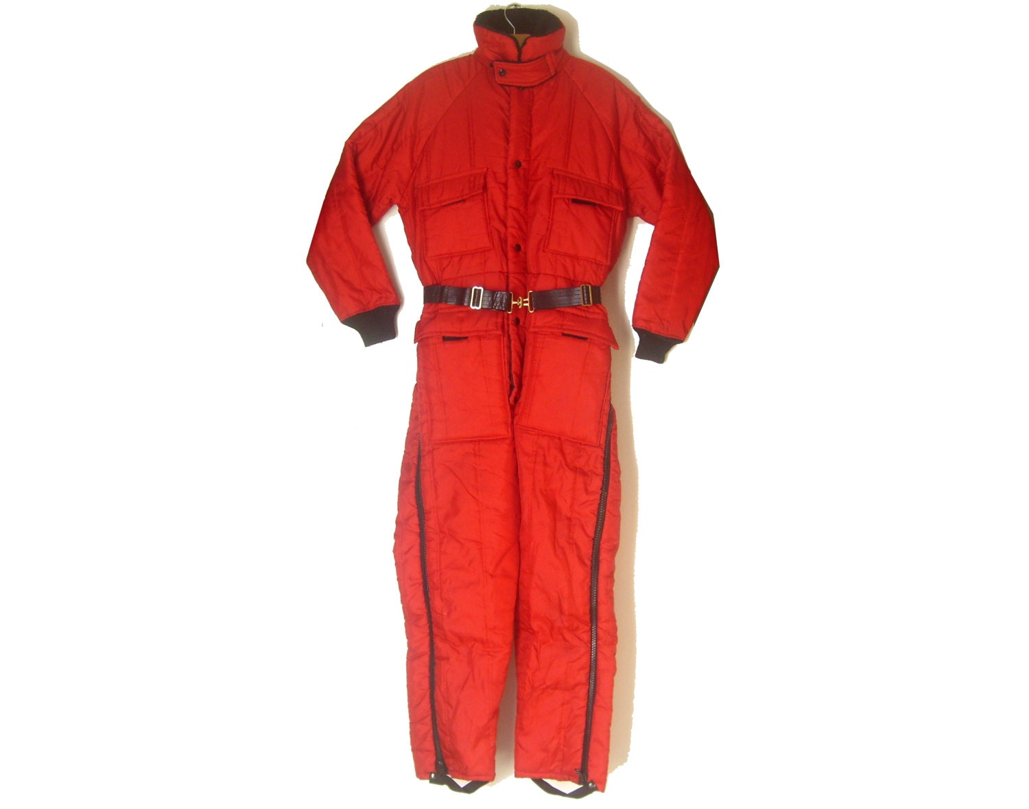 Vintage Snowmobile Suit Insulated Walls Coveralls Red Blizzard