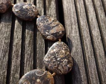 Turritella agate 21-30mm freeform beads (ETB00341)