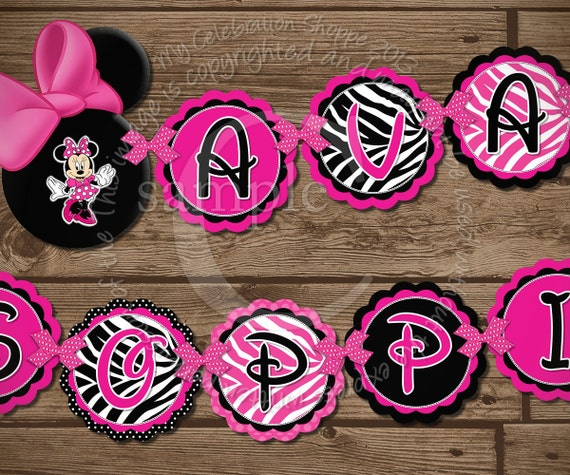Items Similar To Minnie Mouse NAME To Match Happy Birthday