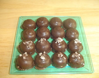 Chocolate covered caramels with and without sea salt