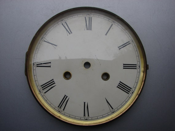 Large Vintage Wall Clock Dial Face In Brass Bezel / By
