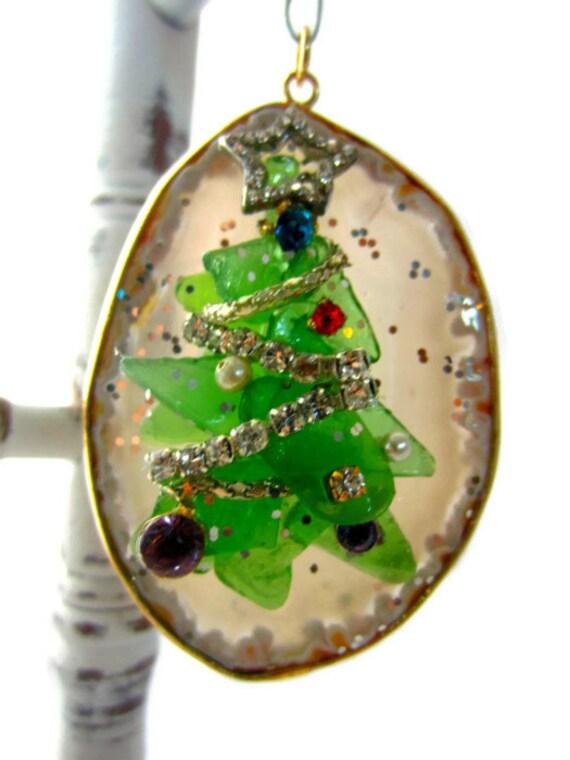 Holiday Pendant Christmas Tree Ornament Sea Glass On