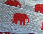 """5 or 10 Yards Silver with Red Elephant Print Fold Over Elastic FoE 5/8"""" Material DIY Hair Ties No Pull Alabama Crimson Tide Houndstooth"""