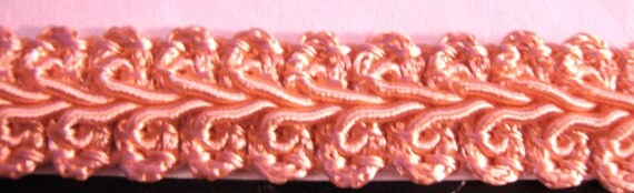 Quality Nylon Woven Braided-Cord Trim - Pale Coral for Costumes,Sewing,Crafting,Decor - by the yard, 1/2 inch wide