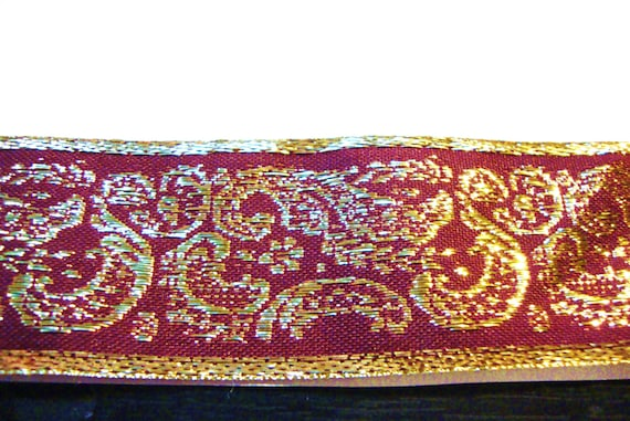 Embroidered Woven Fabric Trim-Metallic gold on Burgundy for Costumes,Sewing,Crafting,Decor-by the yard,Regal,Glam,Renaissance