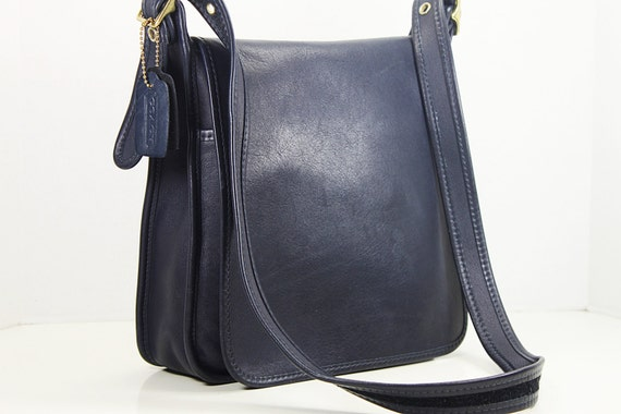 Vintage Coach Navy Blue Leather Messenger bag, Crossbody Shoulder bag ...