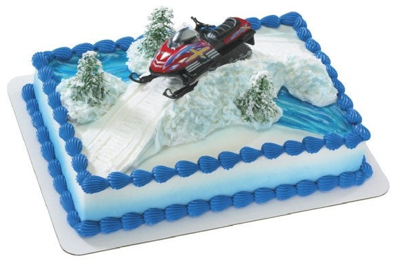 Snowmobile Cake Decorating Kit by ABirthdayPlace on Etsy