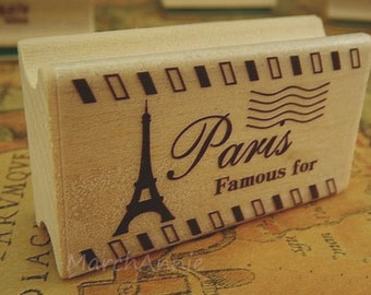 1 pc Vintage Stamp - Wooden Rubber Stamp - Diary Stamp - Postmark Stamp - Eiffel Tower