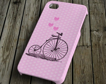 Bicycle with heart pink iPhone 4/4S Case iPhone 5 Cover Plastic iPhone 4/4S/5 Case