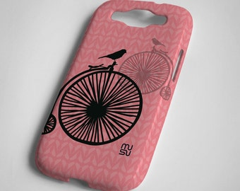 Bicycle with one bird (pink or blue) - Samsung Galaxy S3 Case - Samsung Galaxy S3 Cover - Plastic Samsung Galaxy S3 Case