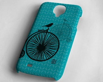 Bicycle with one bird (pink or blue) - Samsung Galaxy S4 Case - Samsung Galaxy S4 Cover - Plastic Samsung Galaxy S4 Case
