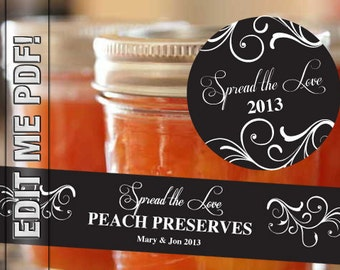 """Spread the Love labels for canning jars 2"""" round and wrap around strips"""