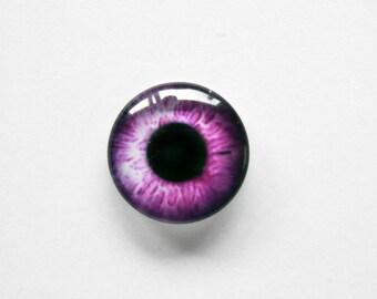 14mm handmade glass eye cabochon - pink eye - standard profile
